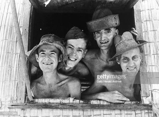 Prisoners of war at a hospital window 28 September 1945 British prisoners of war Japan