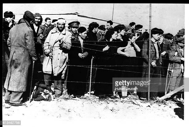 Prisoners of war including civilians and soldiers stand behind the fence of the concentration camp near Le Perthus frontier town | Location Near Le...