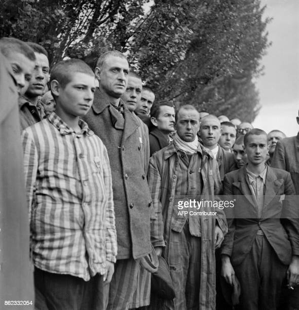 FILES French prisoners sing their national anthem La Marseillaise upon the liberation of the Nazi concentration camp of Dachau near Munich by Allied...