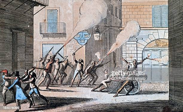 Prisoners released from Vicaria prison in Palermo uniting with the people to fight against the Civic Guard Moti Sicily Italy 19th century