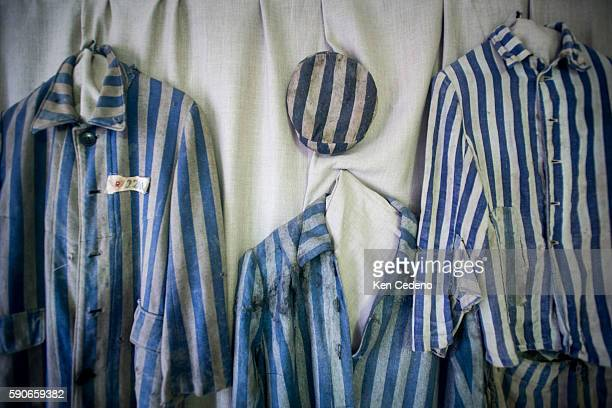 Prisoners uniforms are hung inside one of the rooms of the former NaziGerman concentration and extermination camp AuschwitzBirkenau in Oswiecim...