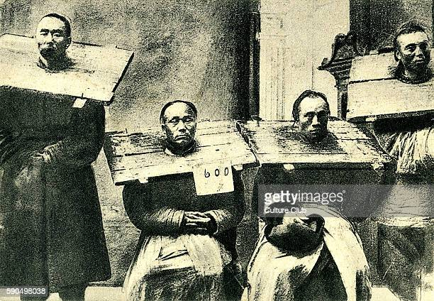 Prisoners wearing the cangue a device used for corporal punishment and humiliation The size and weight varied as a measure of severity of the...