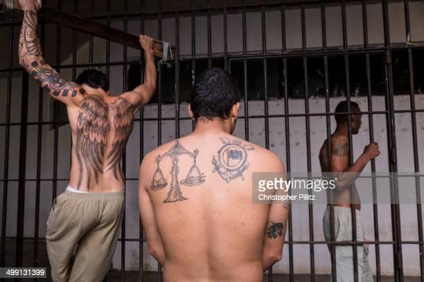 Prisoners working out inside prison, Brazil