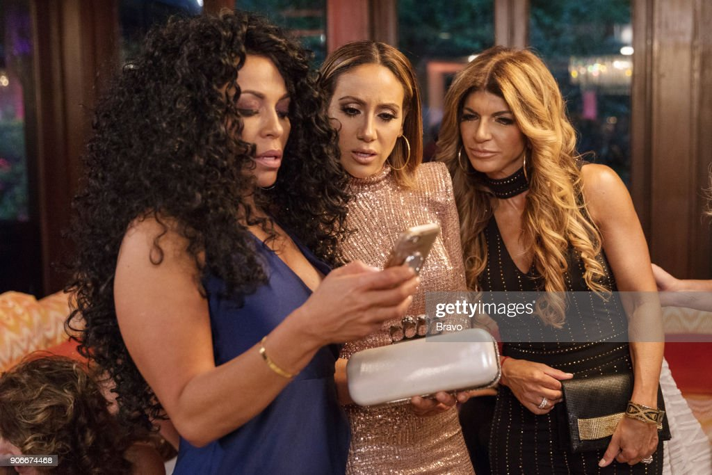 JERSEY -- 'Prisons, Proposals and Parties' Episode 813 -- Pictured: (l-r) Dolores Catania, Melissa Gorga, Teresa Giudice --