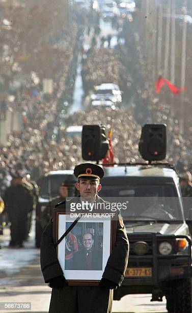 A Kosovo Protection Corps's soldier leads the funeral procession of the late Kosovo President Ibrahim Rugova in centre of Pristina 26 January 2006...