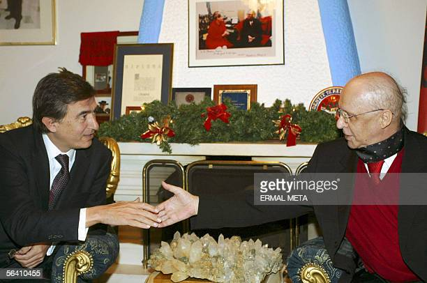French Foreign Minister Philippe Douste Blazy meets with Kosovo President Ibrahim Rugova and Kosovo negotiation team 10 December 2005 Douste visited...