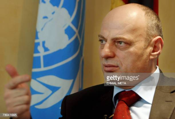 Pristina, SERBIA AND MONTENEGRO: Kosovo Prime Minister Agim Qeku speaks to an AFP journalist during an interview 17 January 2007, in Pristina. Agim...