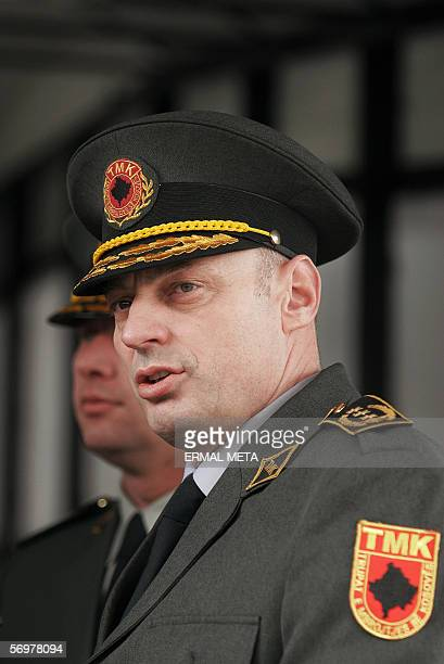 Kosovo Protection Corps Agim Ceku talks to the press 02 March 2006 after his meeting with United Mission in Kosovo chief Soren JessenPetersen Ceku...