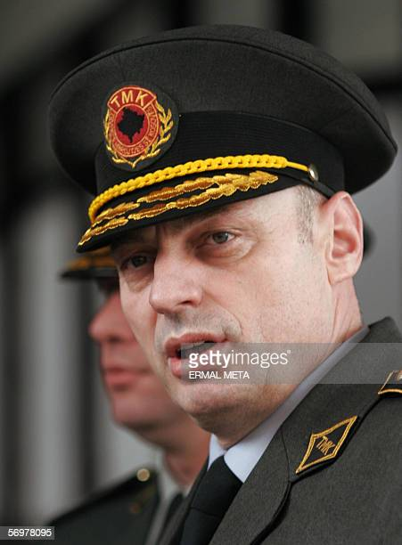 Pristina, SERBIA AND MONTENEGRO: Kosovo Protection Corps Agim Ceku talks to the press, 02 March 2006, after his meeting with United Mission in Kosovo...