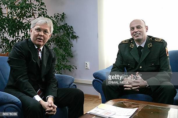 Pristina, SERBIA AND MONTENEGRO: Kosovo Protection Corps General Agim Ceku , a former Kosovo guerilla commander, meets UN mission in Kosovo chief...