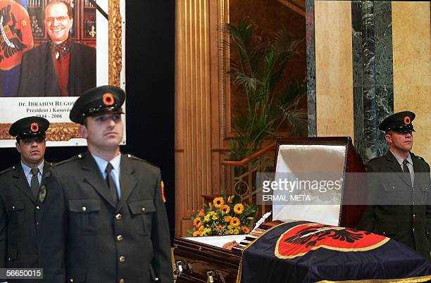 Kosovo Protection Corps soldiers stand around the casket of late Kosovo President Ibrahim Rugova in the parliament in Pristina 23 January 2006 The...