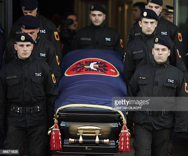 Kosovo Protection Corps's soldiers carry the coffin of late Kosovo President Ibrahim Rugova during the funeral ceremony in Pristina 26 January 2006...