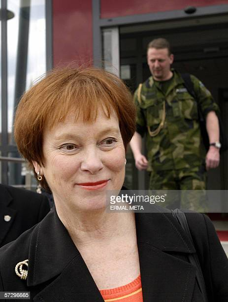 Swedish Defence Minister Leni Bjorklund steps out from the government building 10 April 2006 after her meeting with Kosovo's Prime MinisterAgim Qeku...