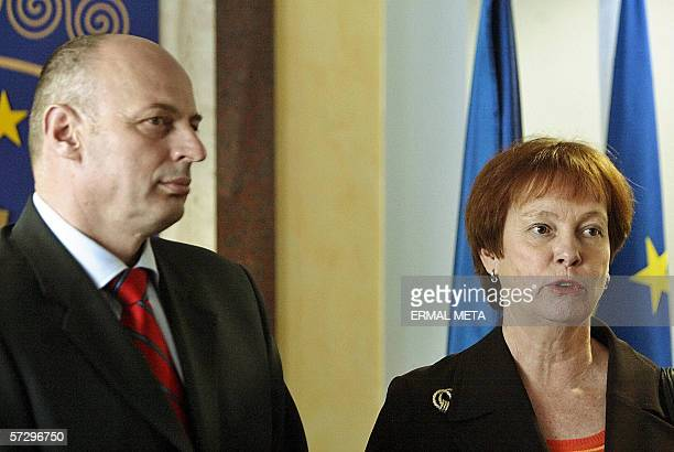 Pristina, SERBIA AND MONTENEGRO: Swedish Defence Minister Leni Bjorklund talks to the media, 10 April 2006, after her meeting with Kosovo Prime...