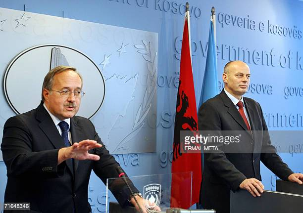 Swiss Minister of Defense Samuel Schmid talks to the media after meeting with Kosovo's Prime Minister Agim Ceku 15 August 2006 in Kosovo's capital...