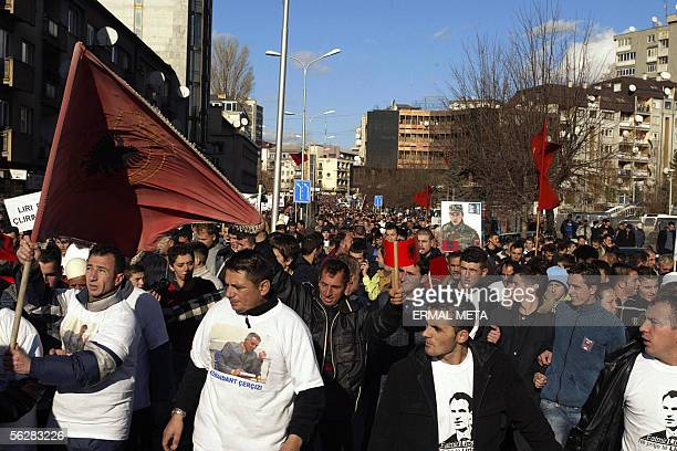 Tens of thousands of ethnic Albanians protest in central Pristina 28 November 2005 against the war crimes trial at the UN tribunal in The Hague of...