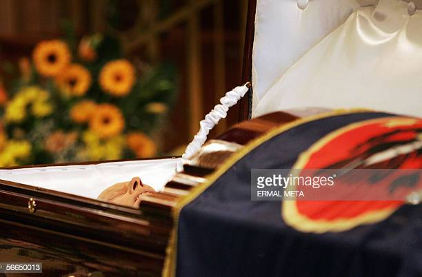 The body of late Kosovo President Ibrahim Rugova lays in a coffin in the Parliament building in Pristina 23 January 2006 The funeral of Kosovo...