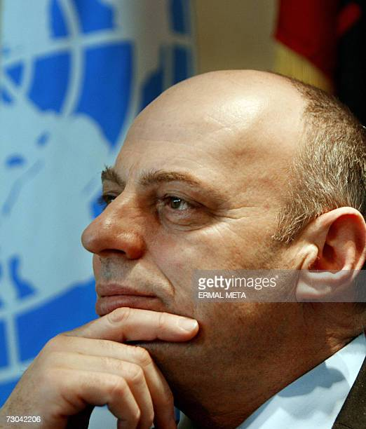 TO GO WITH AFP STORY Kosovo Independence to have positives for Serbs Kosovo Prime Minister Agim Qeku listen to journalist questions during an...