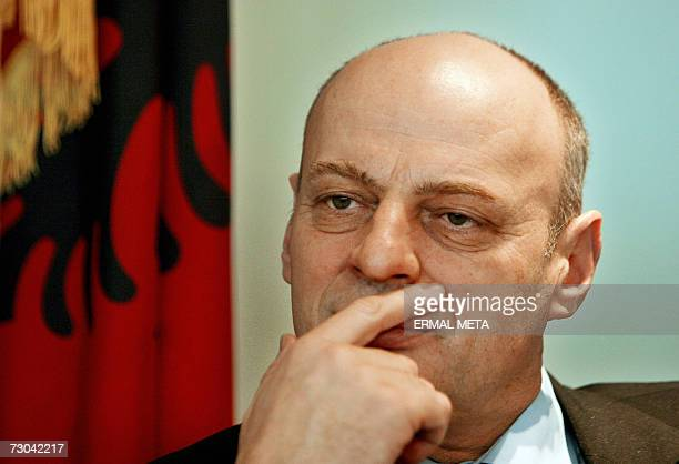 "Pristina, SERBIA AND MONTENEGRO: TO GO WITH AFP STORY ""Kosovo Independence to have positives for Serbs"" Kosovo Prime Minister Agim Qeku gesture..."