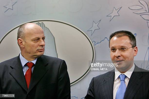Bulgarian Prime Minister and leader of Socialist Party Sergey Stanishev and Kosovo Prime Minister Agim Qeku talking to the media 21 March 2007 after...