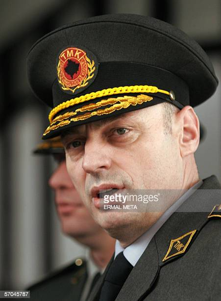 Picture taken 02 March 2006, shows Kosovo Protection Corps Agim Ceku talking to the press, after his meeting with United Mission in Kosovo chief...