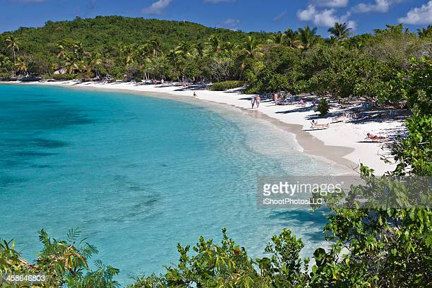 pristine beach on saint john - magens bay stock photos and pictures