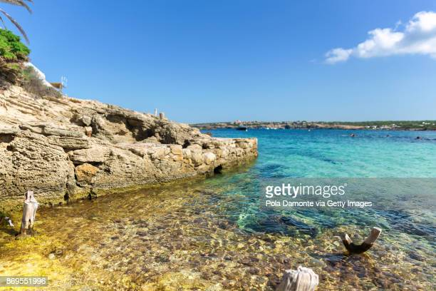 Pristine emerald water in an idyllic beach of Formentera, Balearic Islands, Spain
