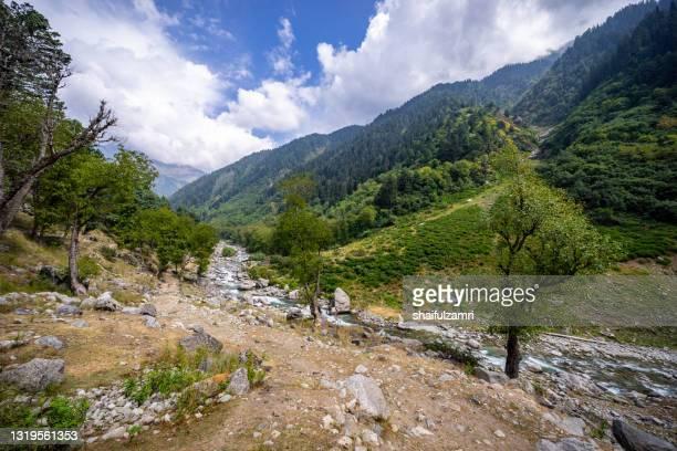 pristine river over beautiful mountain landscape of naranag - shaifulzamri imagens e fotografias de stock