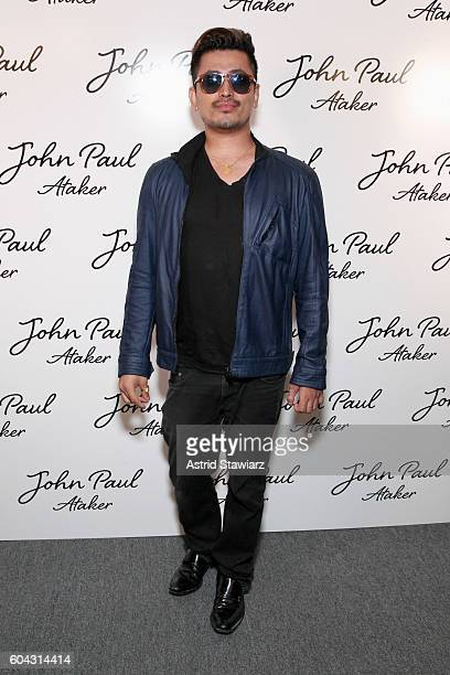Pritan Ambroase poses for a photo backstage at the John Paul Ataker fashion show during New York Fashion Week The Shows at The Dock Skylight at...