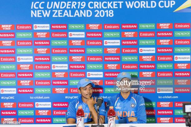 Prithvi Shaw and Shubman Gill of India speak to the media during a press conference following the ICC U19 Cricket World Cup Semi Final match between...