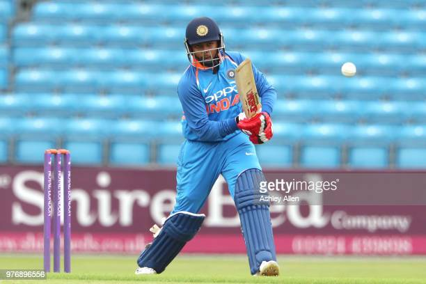 Prithvi Shaw of India A bats during a tour match between ECB XI v India A at Headingley on June 17 2018 in Leeds England