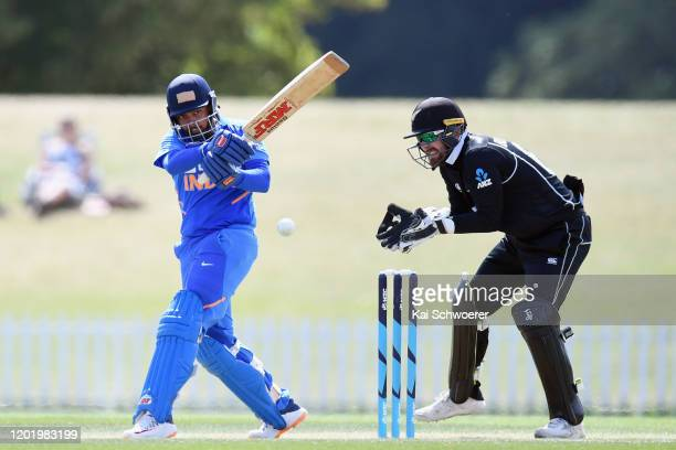 Prithvi Shaw of India A bats during the One Day International match between New Zealand A and India A at Hagley Oval on January 26, 2020 in...