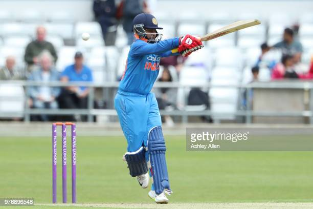 Prithvi Shaw of India A mistimes a pullshot during a tour match between ECB XI v India A at Headingley on June 17 2018 in Leeds England