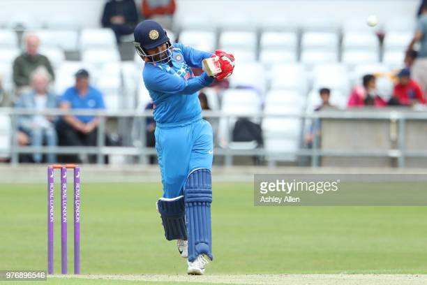 Prithvi Shaw of India A strikes a six down the ground en route to 70 during a tour match between ECB XI v India A at Headingley on June 17 2018 in...