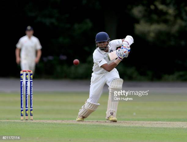 Prithvi Shaw of India bats during the England U19 v India U19 match at Queen's Park Cricket Club on July 23 2017 in Chesterfield England