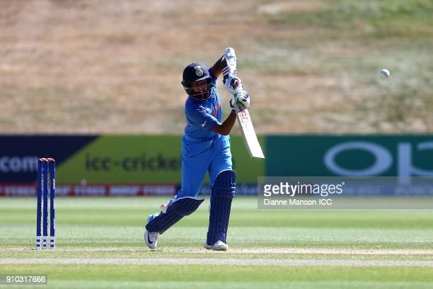 Prithvi Shaw of India bats during the ICC U19 Cricket World Cup match between India and Bangladesh at John Davies Oval on January 26 2018 in...
