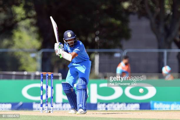 Prithvi Shaw of India bats during the ICC U19 Cricket World Cup Semi Final match between Pakistan and India at Hagley Oval on January 30 2018 in...