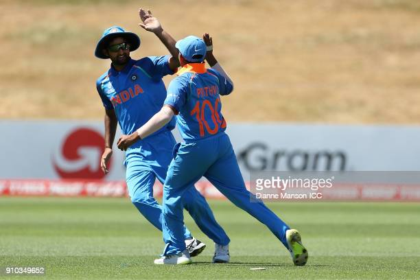 Prithvi Shaw of India celebrates the dismissal of Mohammad Naim Sheikh of Bangladesh during the ICC U19 Cricket World Cup match between India and...