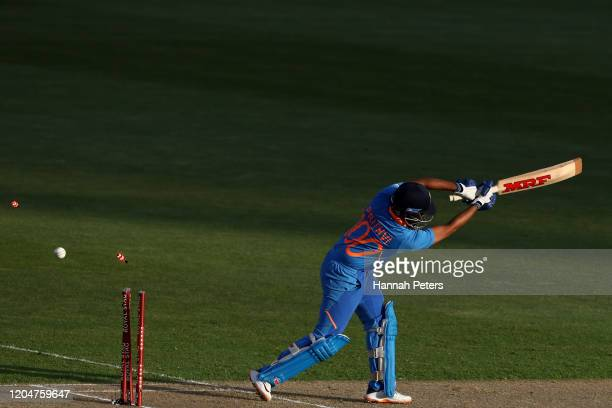 Prithvi Shaw of India is bowled by Kyle Jamieson of the Black Caps during game two of the One Day International Series between New Zealand and India...