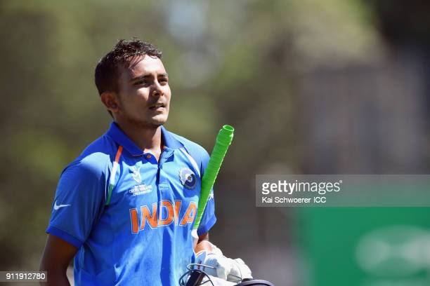 Prithvi Shaw of India looks dejected after being run out during the ICC U19 Cricket World Cup Semi Final match between Pakistan and India at Hagley...