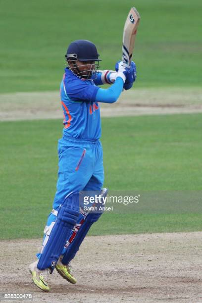 Prithvi Shaw of India U19s hits out during the match between England Under 19s and India U19s at The Spitfire Ground on August 9 2017 in Canterbury...