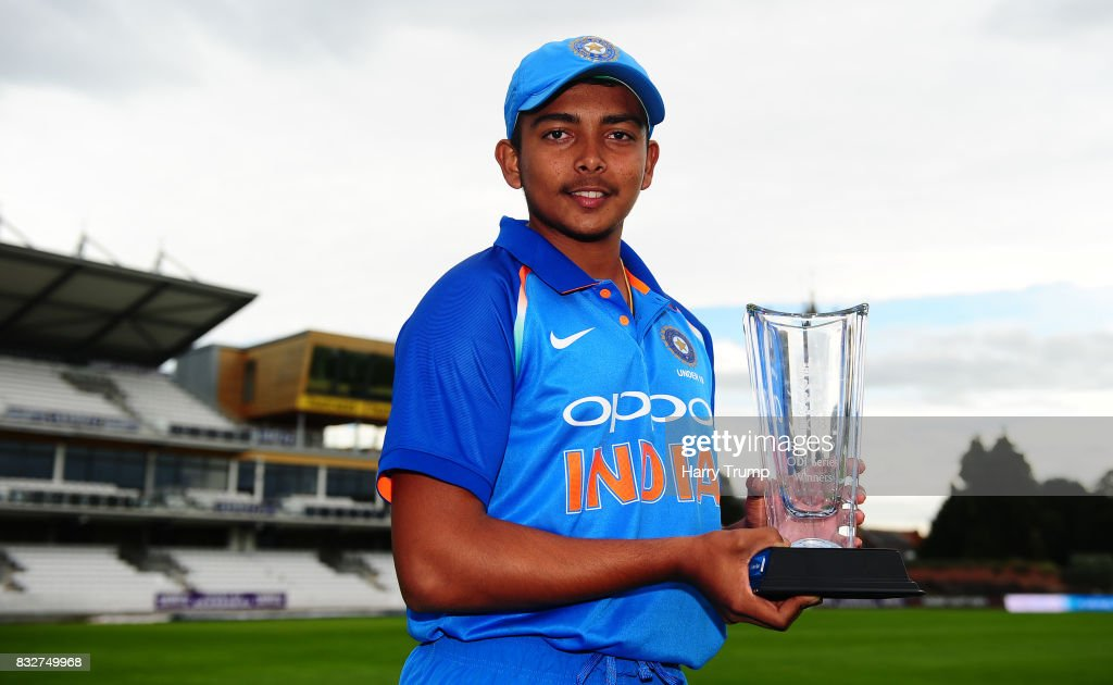 Prithvi Shaw of India U19s poses with the trophy during the 5th Youth ODI match between England U19s and India Under 19s at The Cooper Associates County Ground on August 16, 2017 in Taunton, England.