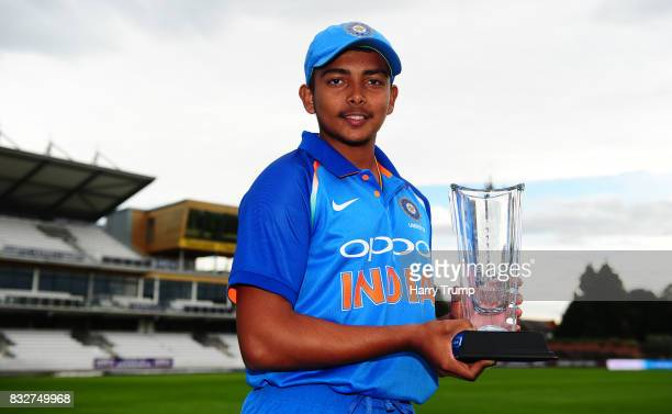 Prithvi Shaw of India U19s poses with the trophy during the 5th Youth ODI match between England U19s and India Under 19s at The Cooper Associates...