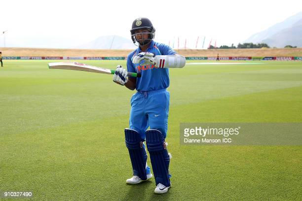 Prithvi Shaw of India warms up ahead of the ICC U19 Cricket World Cup match between India and Bangladesh at John Davies Oval on January 26 2018 in...