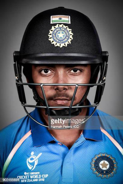 Prithvi Shaw poses during the India ICC U19 Cricket World Cup Headshots Session at Rydges Christchurch on January 8 2018 in Christchurch New Zealand