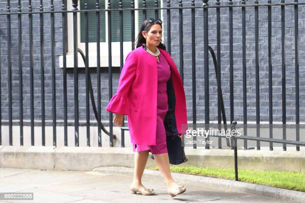 Priti Patel International Development Secretary leaves 10 Downing Street on June 12 2017 in London England British Prime Minister Theresa May held...