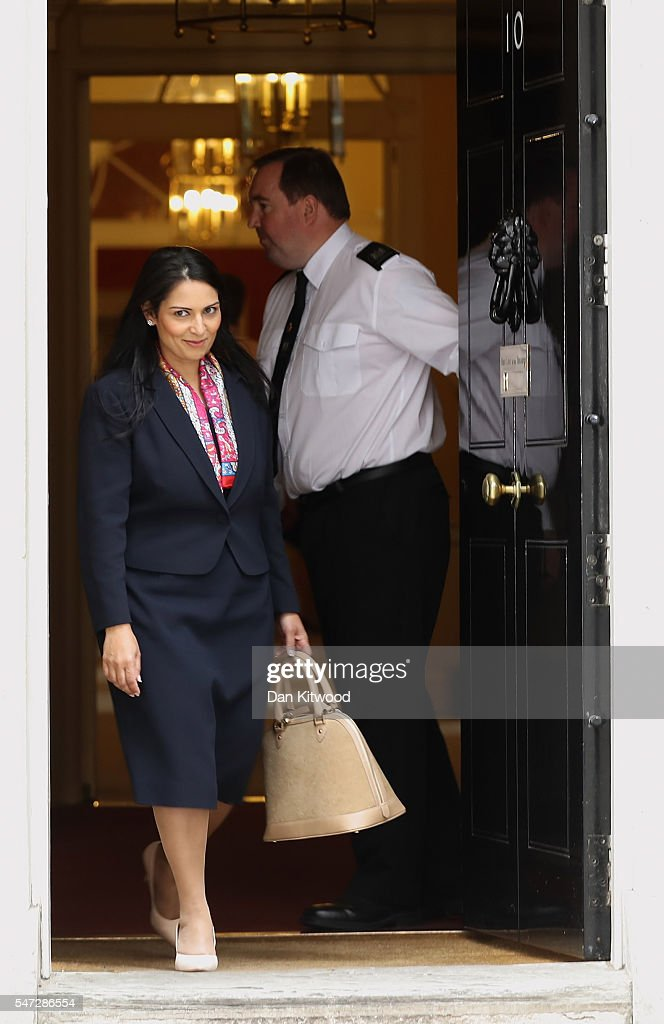 Priti Patel leaves 10 Downing Street where she was appointed as International Development Secretary, as Prime Minister Theresa May continues to appoint her cabinet on July 14, 2016 in London, England. The UK's New Prime Minister began appointing the key Ministerial positions in her cabinet shortly after taking up residence at Number 10 Downing Street.