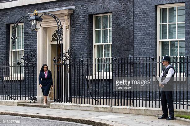 Priti Patel leaves after meeting Prime Minister Theresa May where she was appointed the position of Secretary of State for International Development...