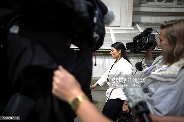 Priti Patel Minister of State for Employment is pursued by waiting media in Whitehall after a cabinet meeting at Downing Street on June 27 2016 in...