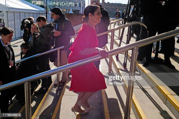 Priti Patel Secretary of State for the Home Department arrives for Prime Minister Boris Johnson's keynote speech on the final day of the Conservative...
